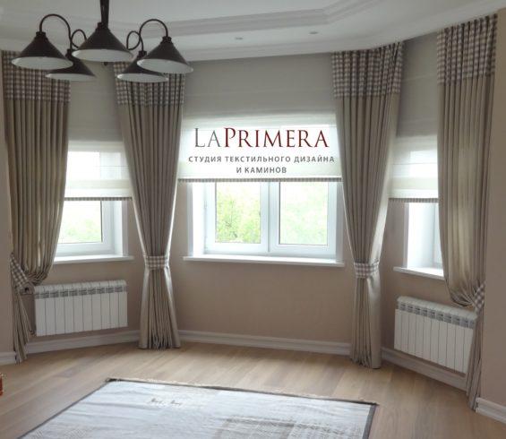 Комплект штор / портьеры с подхватами и полупрозрачные римские шторы/